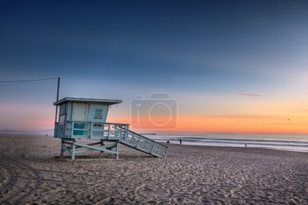 Photo for Lifeguard tower at Venice Beach, California at sunset. - Royalty Free Image