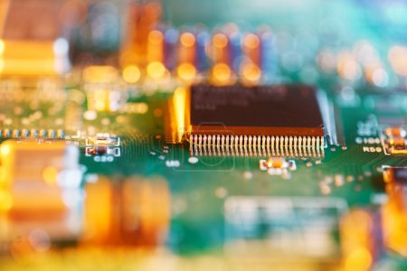 Photo for Processor chip on circuit board. Macro close-up, shallow DOF. - Royalty Free Image