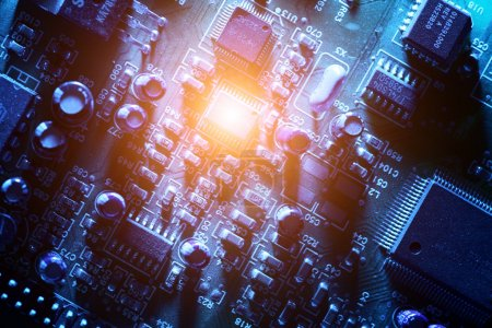 Photo for Circuit board abstract background texture. Macro close-up. - Royalty Free Image