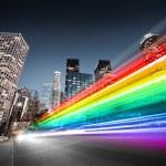 Colorful rainbow blurred bus traffic in Los Angele...