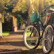 Retro styled bicycle on sunny street. Shallow DOF,...