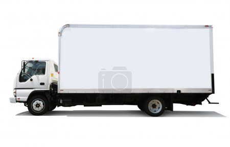 Photo for White delivery truck isolated on white background - Royalty Free Image