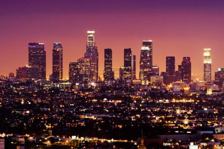 Photo for Downtown Los Angeles skyline at night, California, USA - Royalty Free Image
