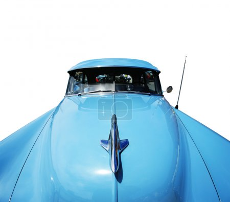 Wide angle view of a vintage american car