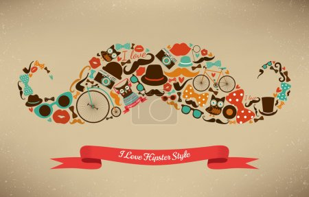 Illustration for Hipster Style Icon Set in Moustache Shape - Royalty Free Image