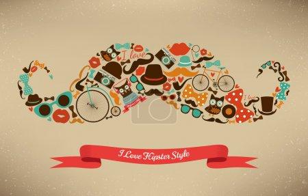 Illustration pour Icône de style hipster en forme de moustache - image libre de droit