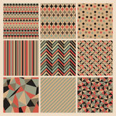 Seamless geometric retro background set Patterns Vector