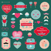 Valentine's Day Badges Icons Labels Set Vector Illustration Hipster Mustaches Lips Teddy bear with heart Grunge textured