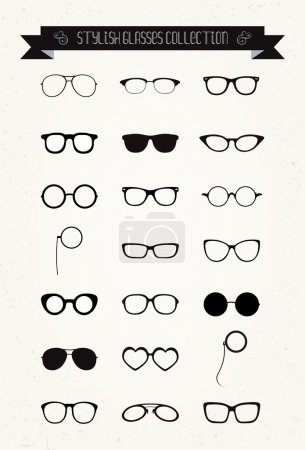 Hipster Retro Vintage Glasses Icon Set