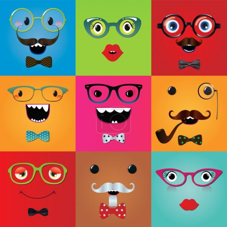 Set of funny hipster monster eyes