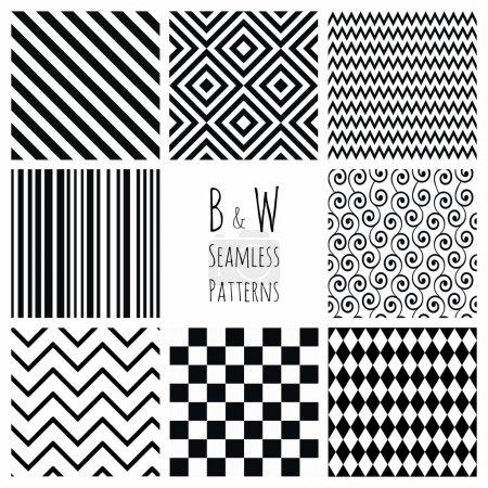 Illustration pour Ensemble de 8 motifs de fond géométrique noir et blanc sans couture. Motif montres sont disponibles . - image libre de droit