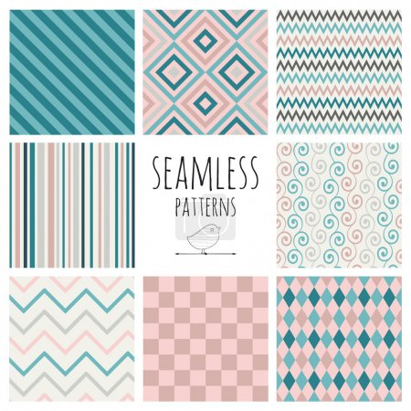 Illustration for Set of 8 Seamless Colorful Vintage Geometric Background Patterns. Pattern Swatches are Available. - Royalty Free Image