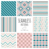 Seamless Colorful geometric background set