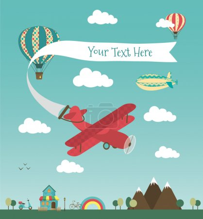 Illustration for Retro Air Plane Banner Design with Vintage Airships like Aerostat and Air Balloon. Vector Illustration. Mini Town with Cute House and Bikes - Royalty Free Image