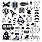 Retro Black and White Icon Set Hipster Style Vector Illustration