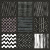 Set of Nine Abstract Hand Drawn Geometric Seamless Background Patterns Chalk Drawing Fully Editable EPS file with Pattern Swatches
