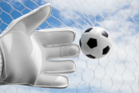 Goalkeeper's hands fail catching the soccer ball with net and bl