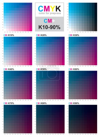 CMYK color swatch chart - Cyan and Magenta