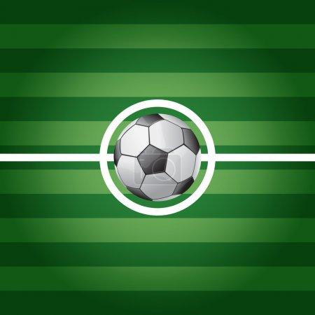 Soccer ball on center of grass field - vector illustration