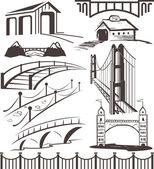 Clip art collection of various bridges