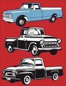 Clip art set of various antique trucks