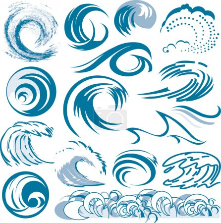 Illustration for Clip art of abstract blue wave designs and shapes - Royalty Free Image