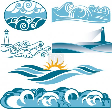 Illustration for Clip art of abstract rolling blue seas and waves - Royalty Free Image