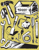 Woodcut style clip art of various tools