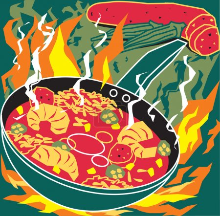 Stylized art of cajun or creole cooking...