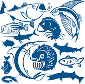 Clip art collection of various types of fish