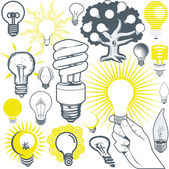Clip art collection of various types of lightbulb