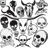 Clip art collection of various types of skulls