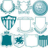 Clip art collection of various types of shield