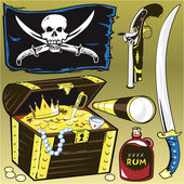 A pirate themed object clip art collection