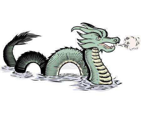Illustration pour Ancienne illustration de style carte, serpent de mer ou dragon - image libre de droit