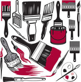 Clip art collection of various paint brushes