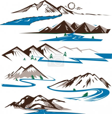 Clip art collection of stylized rivers and mountai...