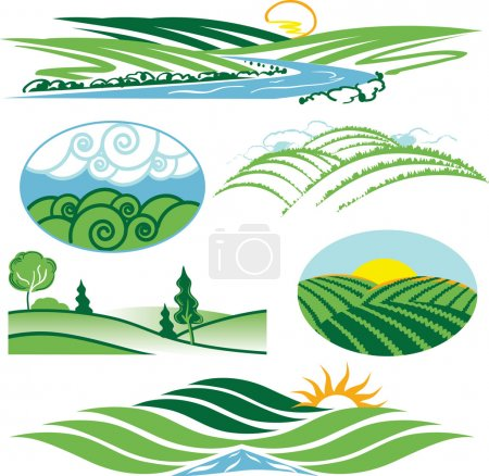 Illustration for Clip art collection of hills and valleys - Royalty Free Image