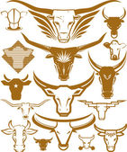 A clip art collection of cow and bull head icons