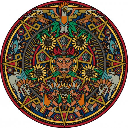 Colorful art based on the aztec calendar