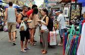 Bangkok, Thailand: Tourists Eating Pad Thai Noodles on Khao San Road