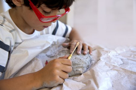 Boy excavating dinosaur fossil out of plaster