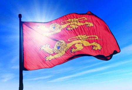 Basse Normandie (France) flag waving on the wind