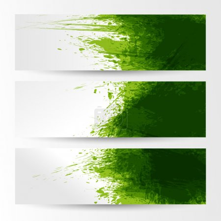 Illustration for Set of three banners, abstract headers with green blots - Royalty Free Image