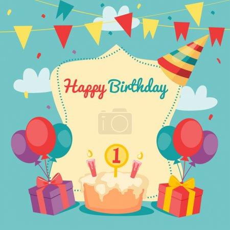 Illustration pour Joyeux anniversaire carte vectorielle. belle illustration vectorielle . - image libre de droit