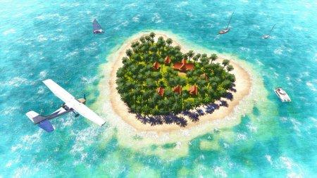 Plane over the heart-shaped island