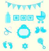Baby boy set of design element for scrapbook and baby shower blue colors vector illustration