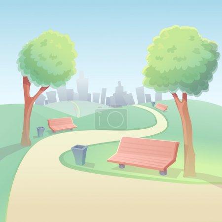 Illustration pour Terrain avec gazon fond vecteur parc dessin animé - image libre de droit