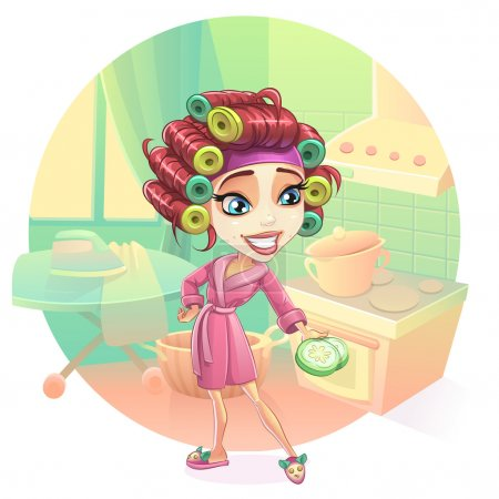 Happy woman housewife preparing breakfast, lunch, dinner, dressed in a pink gown. Skin care, facial mask, cucumber curlers