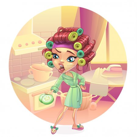Angry woman housewife preparing breakfast, lunch, dinner, dressed in a pink gown. Skin care, facial mask, cucumber curlers